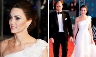 """Công nương Kate Middleton đẹp đẳng cấp với đầm lệch vai bên Hoàng tử William trên thảm đỏ """"Oscar Anh Quốc""""."""