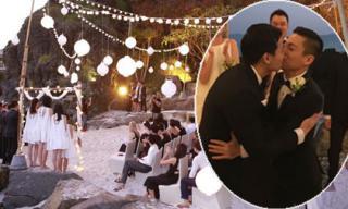 NTK Andrian Anh Tuấn và bạn trai hôn nhau nồng nàn trong lễ cưới đồng tính