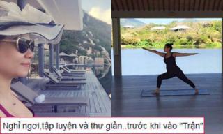 Thu Minh khoe bụng bầu 'vượt mặt' khi tập yoga