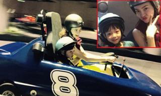 Hà Hồ hào hứng lái ô tô đồ chơi cùng Subeo