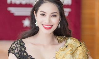 Phạm Hương diện đầm họa tiết phượng hoàng đi làm giám khảo