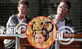 'Thục phi' Châu Hải My gây thất vọng khi hút thuốc lá nơi công cộng