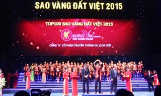 Công ty Cổ phần Truyền thông Du Lịch Việt vinh dự đạt giải thưởng Top 100 sao vàng đất Việt 2015