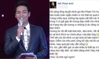 MC Phan Anh bật mí bị mất 8 trang kịch bản trong đêm Chung kết Hoa hậu Hoàn vũ