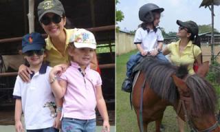 Hồng Nhung hạnh phúc đưa cặp song sinh đi cưỡi ngựa