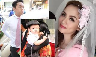 Con trai Hoa hậu Diễm Hương lộ diện trong lễ cưới bố mẹ