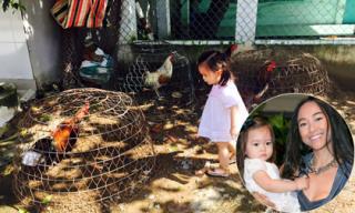 Con gái Đoan Trang thích thú khi về quê ngoại chơi