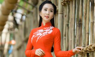 Cao An An diện áo dài với sắc đỏ rạng ngời đón xuân Bính Thân