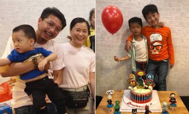 Vợ chồng Lâm Vỹ Dạ diện đồ giản dị, tổ chức tiệc sinh nhật ấm cúng cho con trai