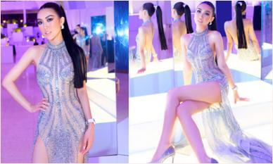 Tự nhận vòng một chưa đạt, Hoa hậu Tường Linh vẫn táo bạo diện đầm xuyên thấu