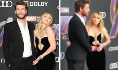 """Khoảnh khắc Miley Cyrus tá hỏa khi đang mải mê tạo dáng thì bị chồng """"véo"""" bụng ngay trên thảm tím"""