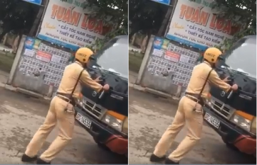 Bị yêu cầu xuống xe, tài xế xe tải ngoan cố ủi CSGT rồi tẩu thoát gây bức xức