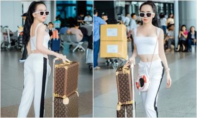 Chỉ với set đồ thể thao đơn giản, hot girl Trần Đoàn xinh đẹp 'bất chấp' tại phi trường