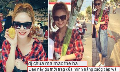 Minh Hằng gây tranh cãi về cách ăn mặc khi đi chùa