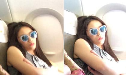 Hoa hậu Kỳ Duyên lộ ảnh ngủ mới trên máy bay