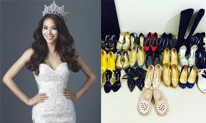 Phạm Hương mang cả tủ giày đi thi Hoa hậu Hoàn vũ 2015