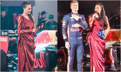 Phương Mai phấn khích khi đứng cạnh tay đua huyền thoại David Coulthard