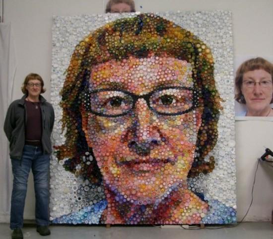 Ảnh chân dung, Nghệ sỹ, Nắp chai nhựa, Bức tranh độc đáo, Thế giới đó đây