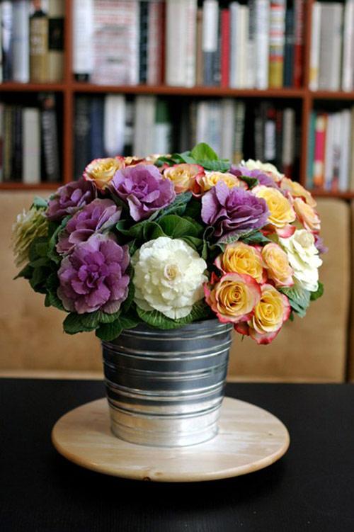 Hoa đẹp 20-10: Lạ mắt 2 mẫu cắm hoa Bắp cải - 8