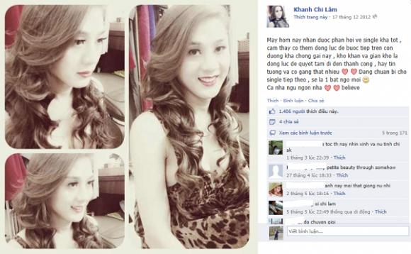 """Facebook của người đẹp chuyển giới Lâm Chi Khanh có tin gì """"nóng""""?"""