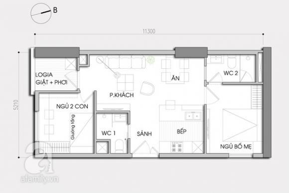 nha202jpg1379666123 Chia sẻ cách tận dụng từng centimet diện tích nhờ bài trí cho căn hộ 60m2