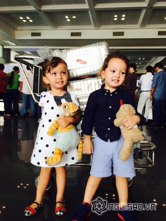ca sĩ Hồng Nhung, con Hồng Nhung, bé Tôm bé Tép, cặp sinh đôi nhà Hồng Nhung, hai con Hồng Nhung tại sân bay
