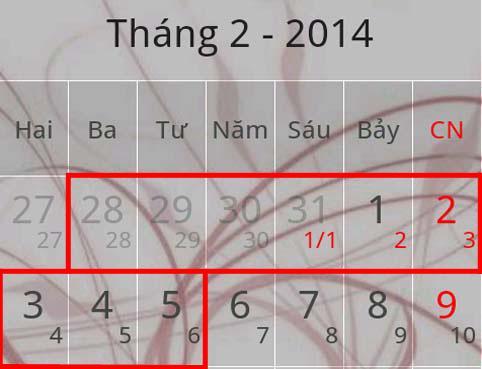 Lịch nghỉ Tết 2014,Tết 2014,Năm mới 2014,Nghỉ tết âm lịch 2014