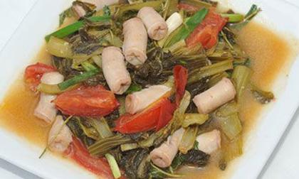 thịt kho dưa chua, thịt kho, kho dưa cải, món không ngấy