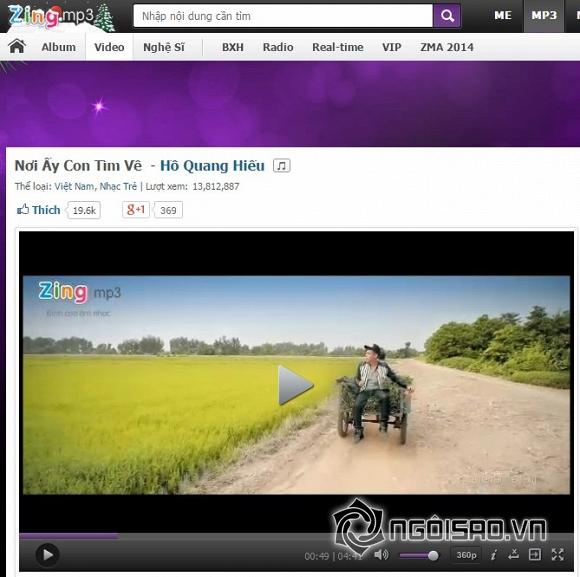 Zing Music Awards 2014 , Top 3 MV của năm,  Hồ Ngọc Hà, Bùi Bích Phương ,Hồ Quang Hiếu
