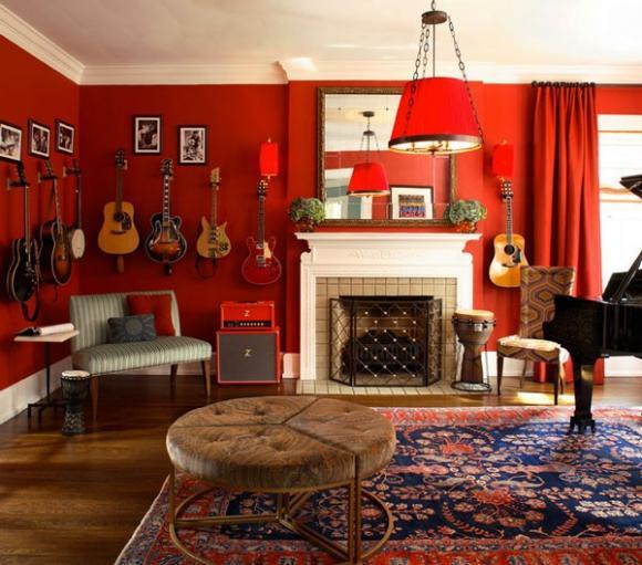 khong gian song ruc ro va may man voi mau do jpg5 Thiết kế không gian sống rực rỡ và may mắn với màu đỏ