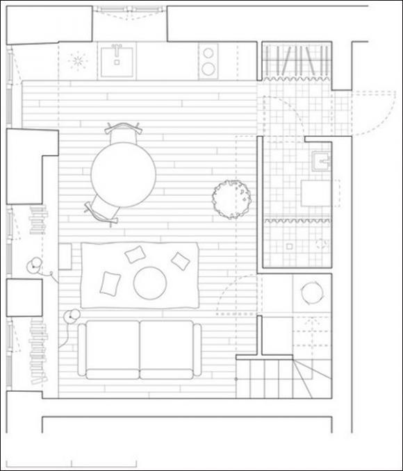 Ngắm căn hộ 24m² hiện đại trong lòng biệt thự cổ 3