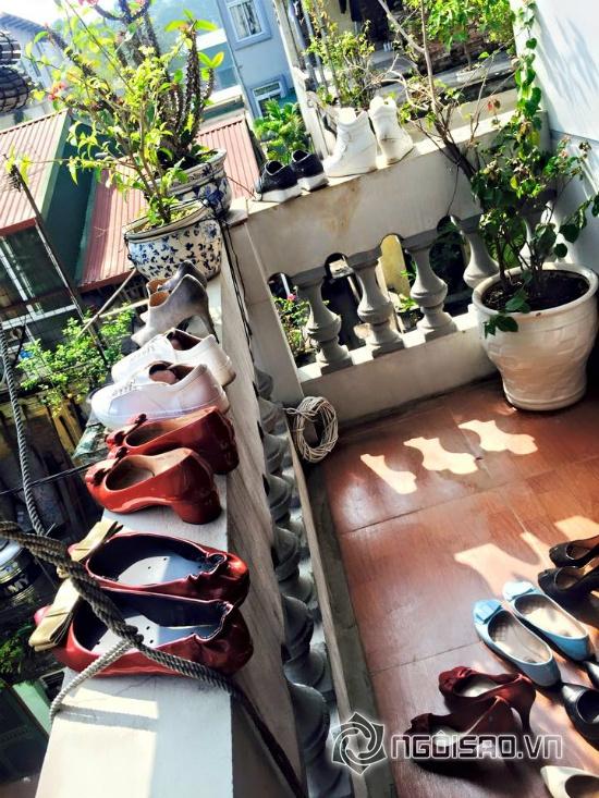 Hồng Quế, người mẫu Hồng Quế, Hồng Quế khoe giày, Hồng Quế cho giày tắm nắng