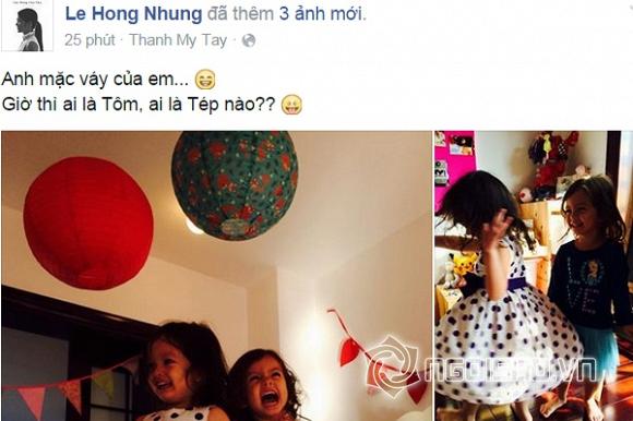 Con Hồng Nhung,cặp sinh đôi nhà Hồng Nhung,con trai Hồng Nhung,con trai Hồng Nhung mặc váy