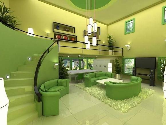 trang tri phong khach tuyet dep voi noi that mau xanh 6 ngoisao.vn Thiết kế và trang trí phòng khách tuyệt đẹp với điểm nhấn nội thất màu xanh