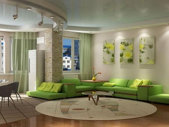trang tri phong khach tuyet dep voi noi that mau xanh ngoisao.vn Thiết kế và trang trí phòng khách tuyệt đẹp với điểm nhấn nội thất màu xanh