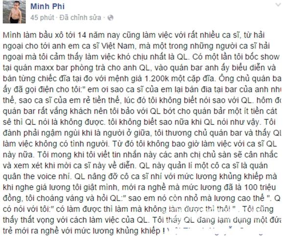Quang Lê bị bầu show tố 0