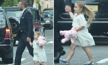 bé Harper,bé Harper trùm kín mặt,công chúa nhà becks,gia đình becks đi chơi Disneyland