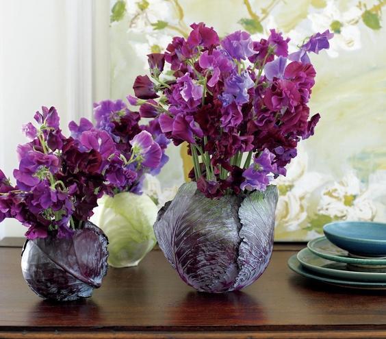 Cắm hoa vào bắp cải: sang nhà mà độc đáo - 8