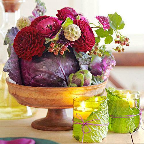 cắm hoa trên bắp cải, cắm hoa độc, cắm hoa trong nhà, mẹo cắm hoa đẹp
