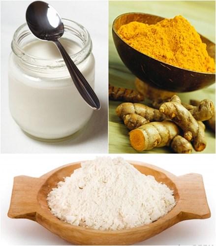 tinh bột nghệ, mật ong, nước cốt chanh, se khít lỗ chân lông, trị mún trứng cá, trắng da