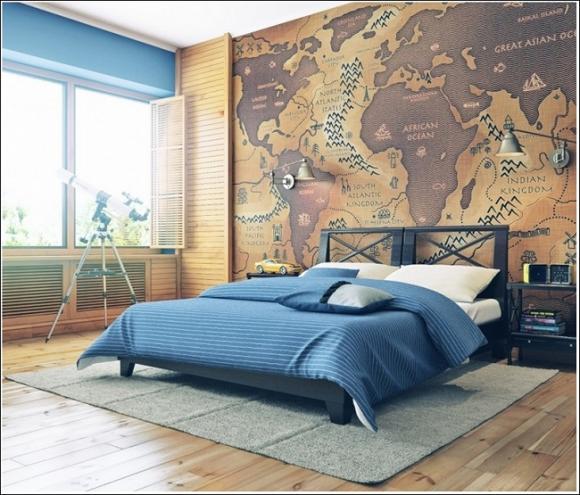 trang tri nha voi ban do 8 211208991 ngoisao.vn Thiết kế và trang trí nhà ấn tượng với bản đồ