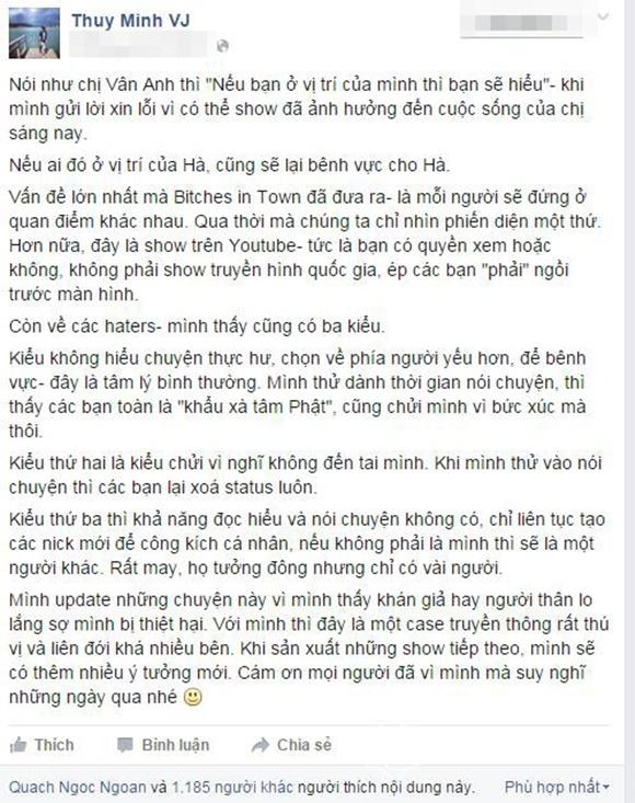 MC Thùy Minh xin lỗi vợ đại gia K vẫn bênh Hà Hồ không ngớt 0