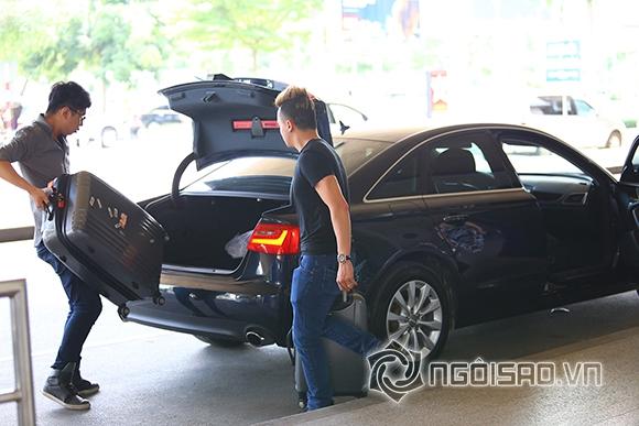 Cao Thái Sơn khệ nệ hành lý lẻ bóng ở sân bay 8