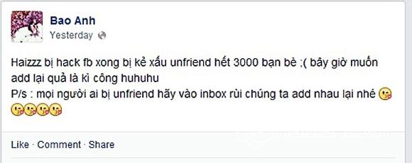 Sao Việt bị hack facebook 1