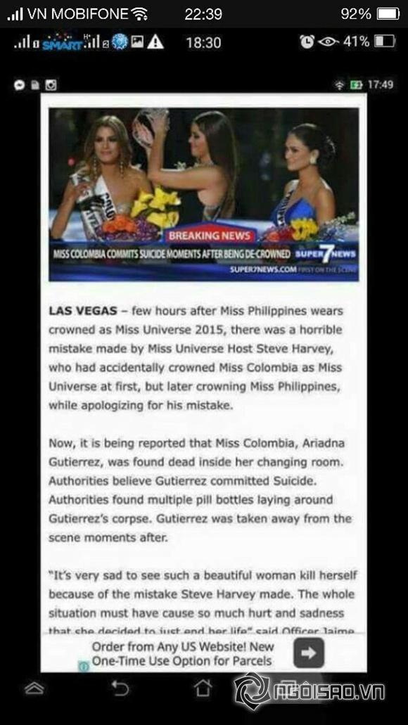 Hoa hậu Colombia, Hoa hậu Colombia bị trao nhầm vương miện, Hoa hậu Colombia tự sát,