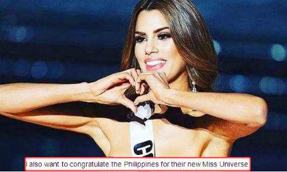 hoa hậu Mỹ, Hoa hậu Philippines, hoa hậu hoàn vũ 2015