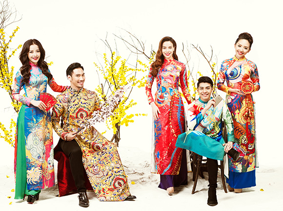 Dàn sao Việt, Hà Hồ, Tóc Tiên, Chi Pu, Noo Phước Thịnh, Sơn Tùng M-TP, Dàn sao Việt khoe dáng trong tà áo dài Tết