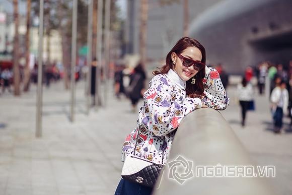 Minh Hằng, Minh Hằng tham dự Seoul Fashion Week, Minh Hằng đeo túi hiệu sang chảnh trên đường phố Hàn