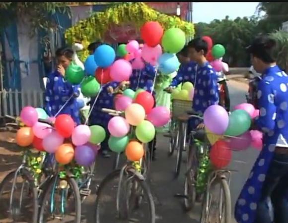 Màn rước dâu độc đáo bằng xe đạp trong đám cưới ở Tây Ninh 6