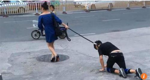 xích cổ dắt bạn trai như cún giữa đường, Xích cổ bạn trai, Dắt bạn trai bò như cún cưng
